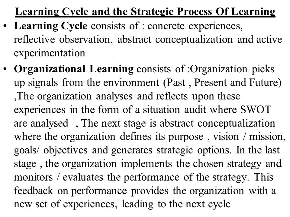 Learning Cycle and the Strategic Process Of Learning