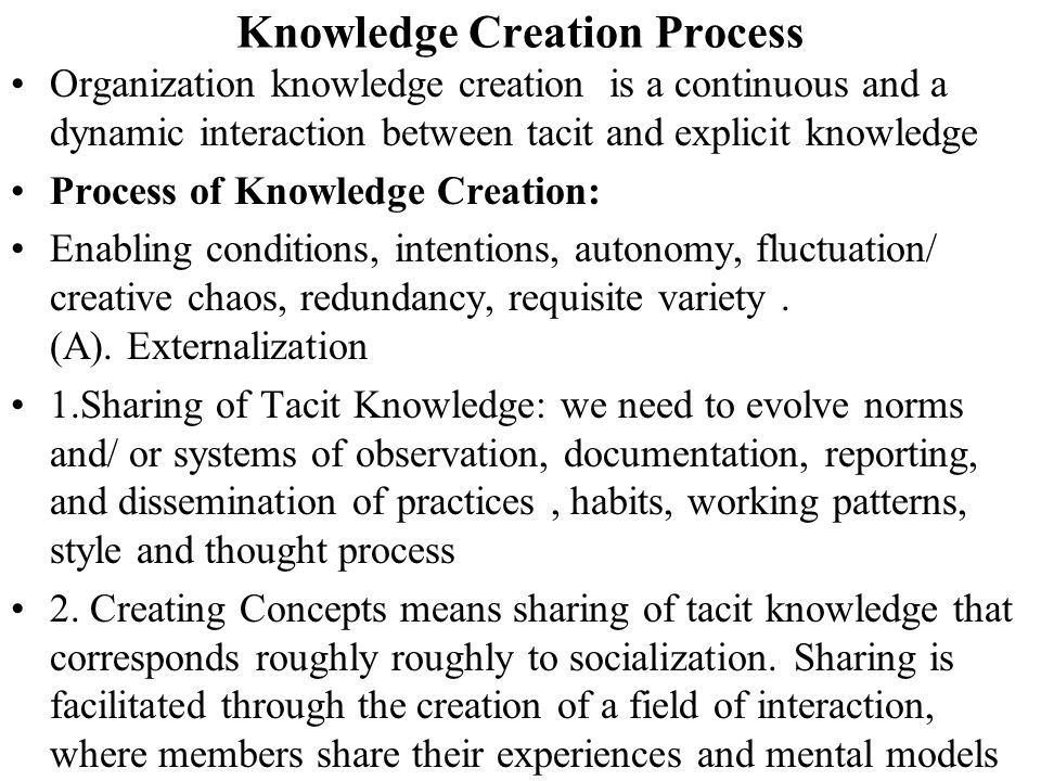 Knowledge Creation Process