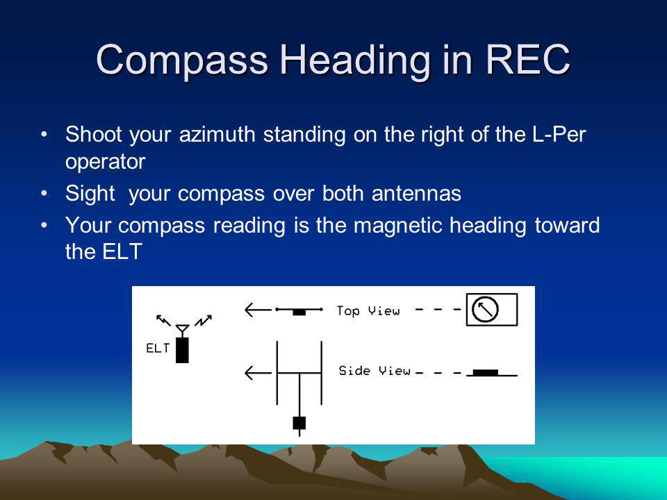 Compass Heading in REC Shoot your azimuth standing on the right of the L-Per operator. Sight your compass over both antennas.