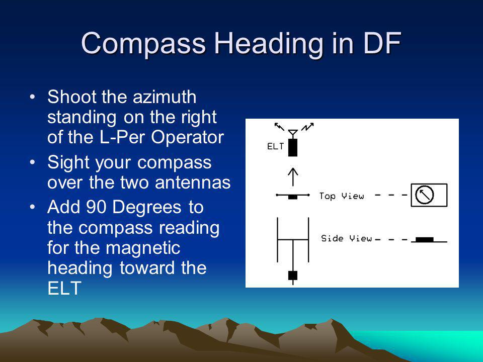 Compass Heading in DF Shoot the azimuth standing on the right of the L-Per Operator. Sight your compass over the two antennas.