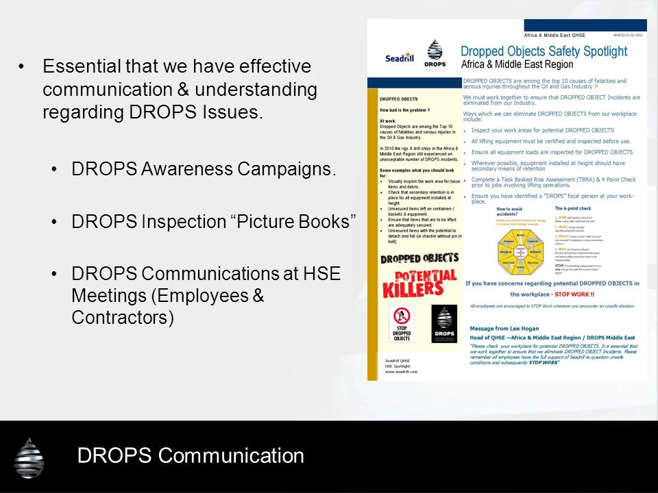 Essential that we have effective communication & understanding regarding DROPS Issues.