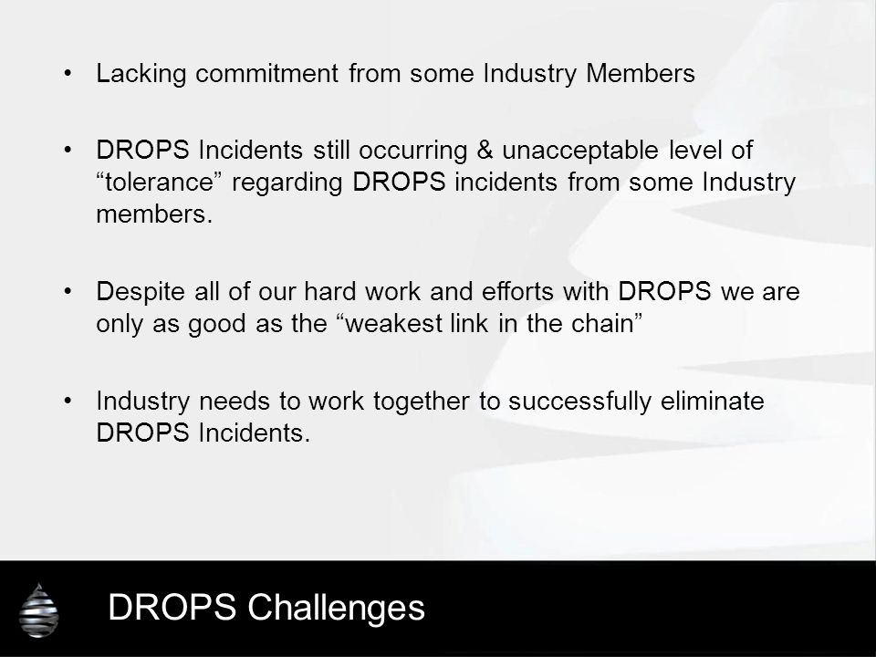 DROPS Challenges Lacking commitment from some Industry Members
