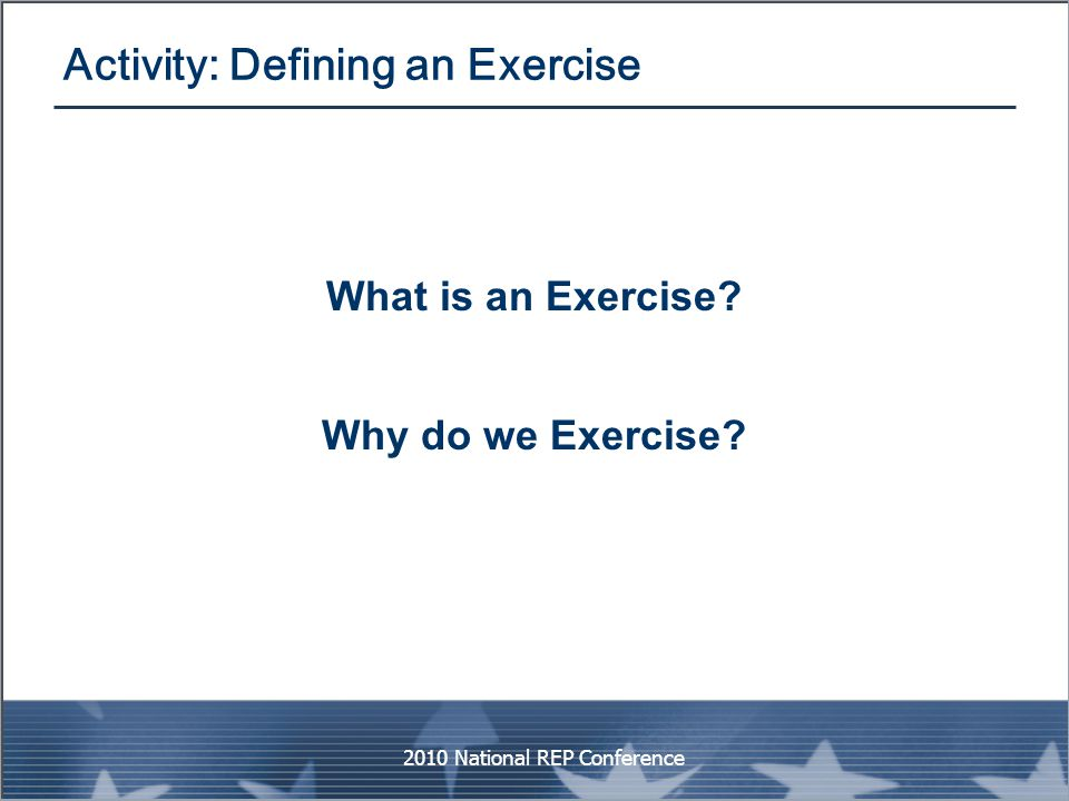 Activity: Defining an Exercise