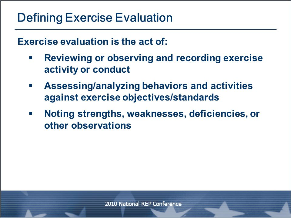 Defining Exercise Evaluation