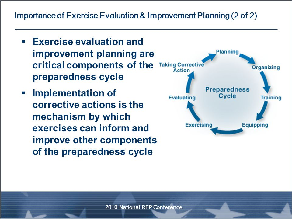 Importance of Exercise Evaluation & Improvement Planning (2 of 2)