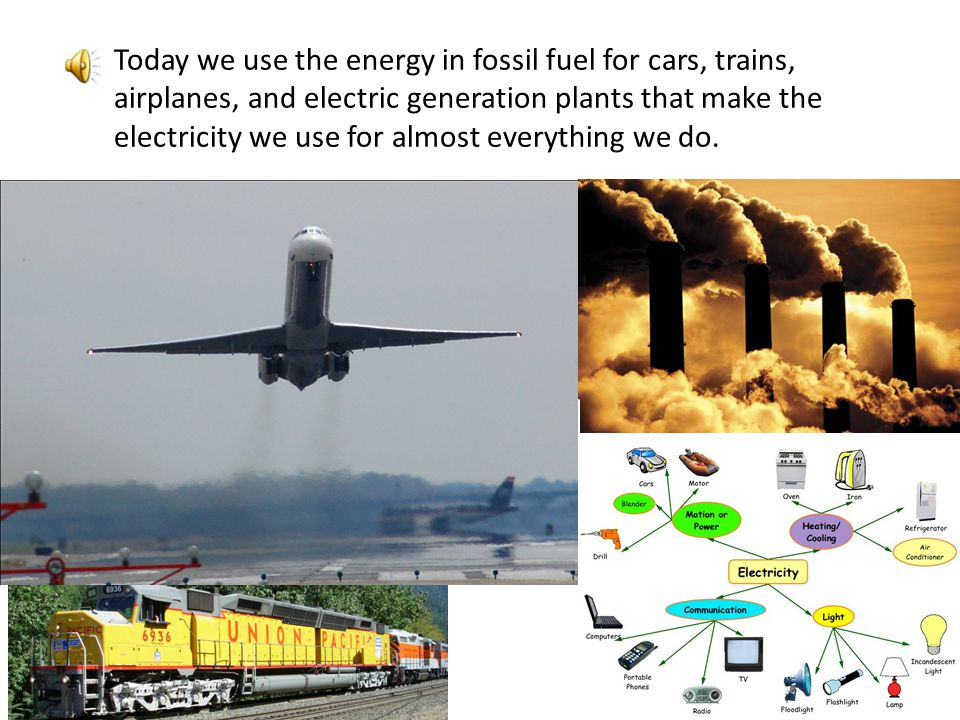Today we use the energy in fossil fuel for cars, trains, airplanes, and electric generation plants that make the electricity we use for almost everything we do.