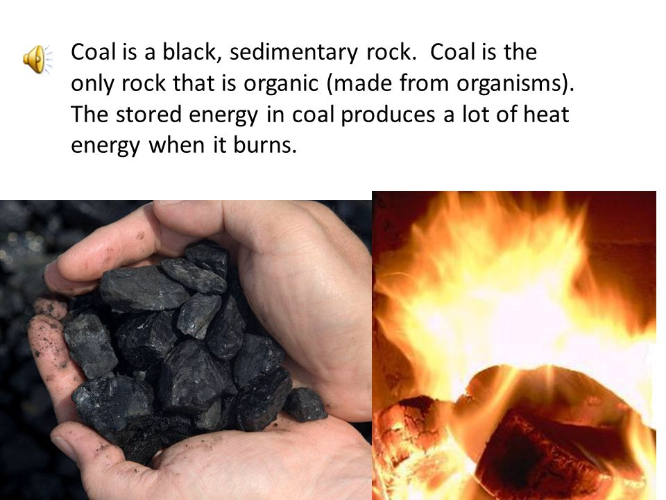 Coal is a black, sedimentary rock