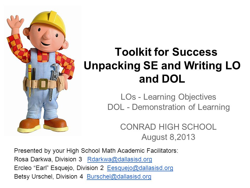 Toolkit for Success Unpacking SE and Writing LO and DOL