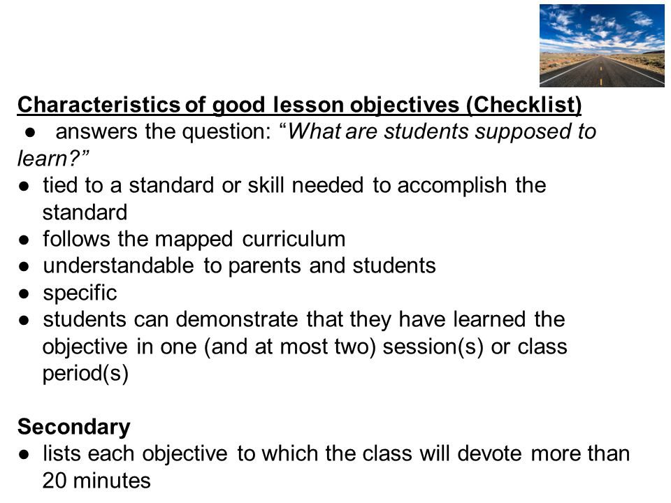 Characteristics of good lesson objectives (Checklist)