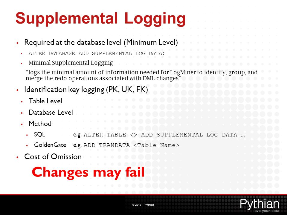 Supplemental Logging Changes may fail