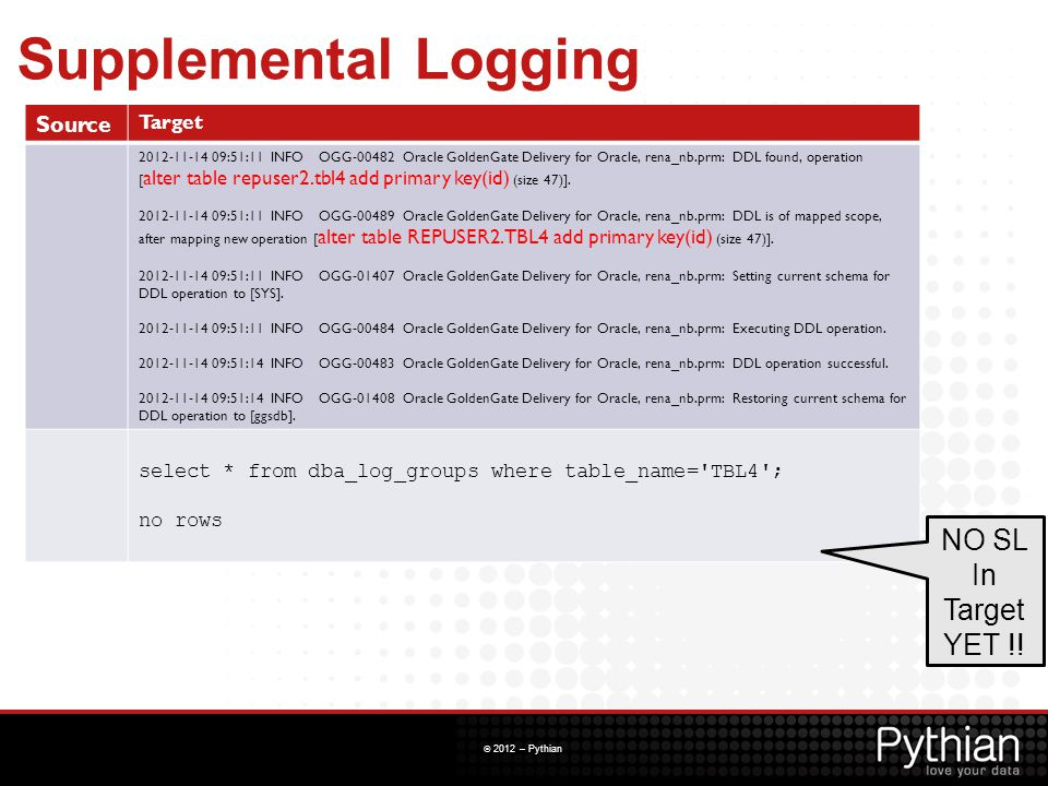 Supplemental Logging NO SL In Target YET !! Source Target
