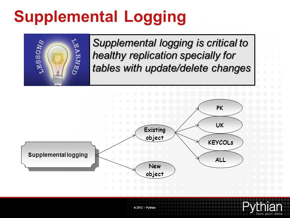 Supplemental Logging Supplemental logging is critical to healthy replication specially for tables with update/delete changes.