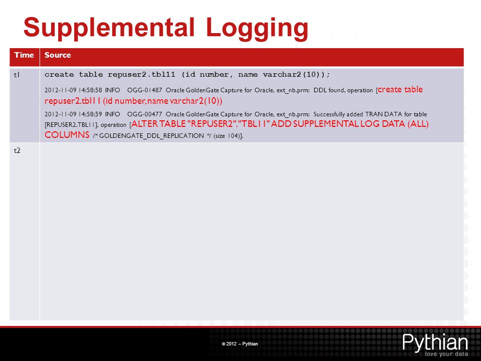 Supplemental Logging Time Source t1