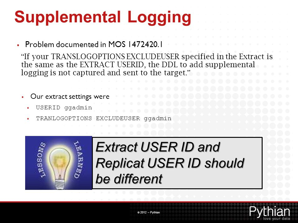 Supplemental Logging Problem documented in MOS 1472420.1.