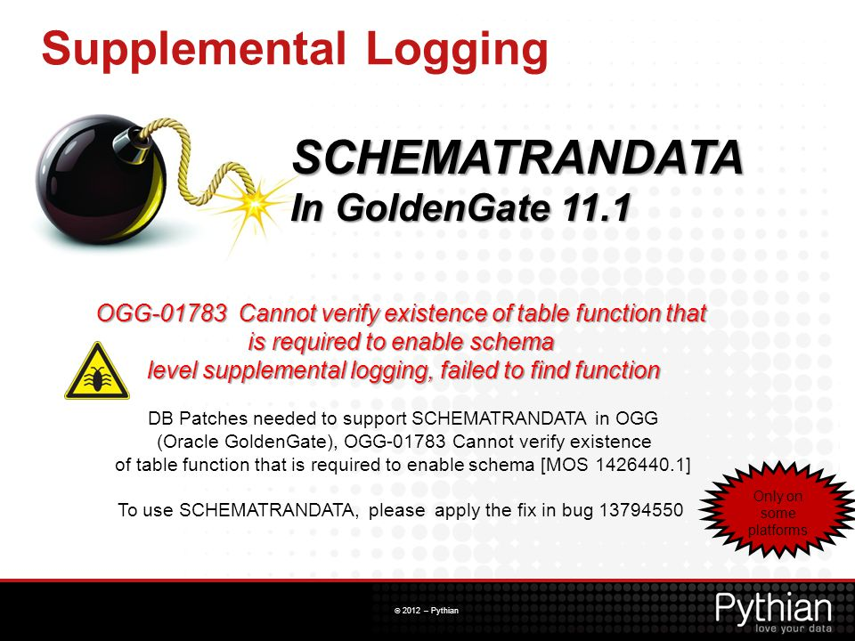 Supplemental Logging SCHEMATRANDATA In GoldenGate 11.1