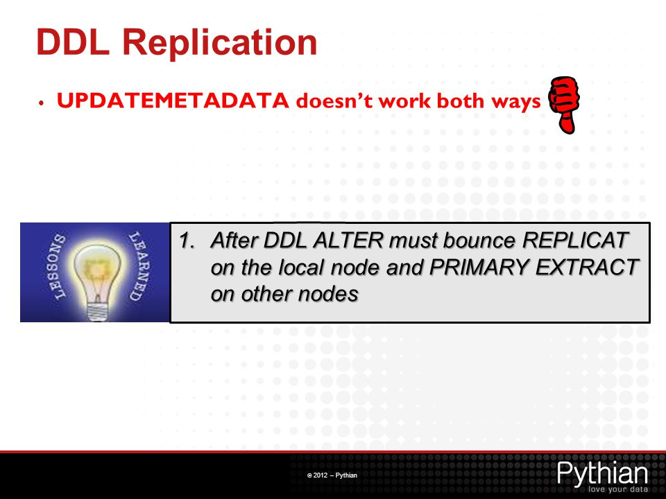 DDL Replication UPDATEMETADATA doesn't work both ways