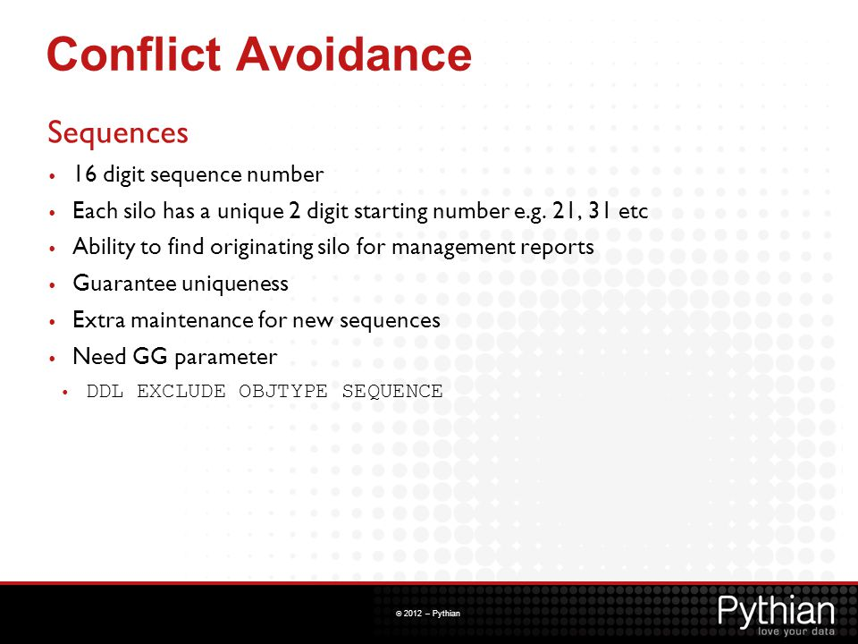 Conflict Avoidance Sequences 16 digit sequence number