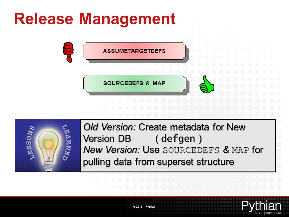 Release Management ASSUMETARGETDEFS. SOURCEDEFS & MAP. Old Version: Create metadata for New Version DB ( defgen )