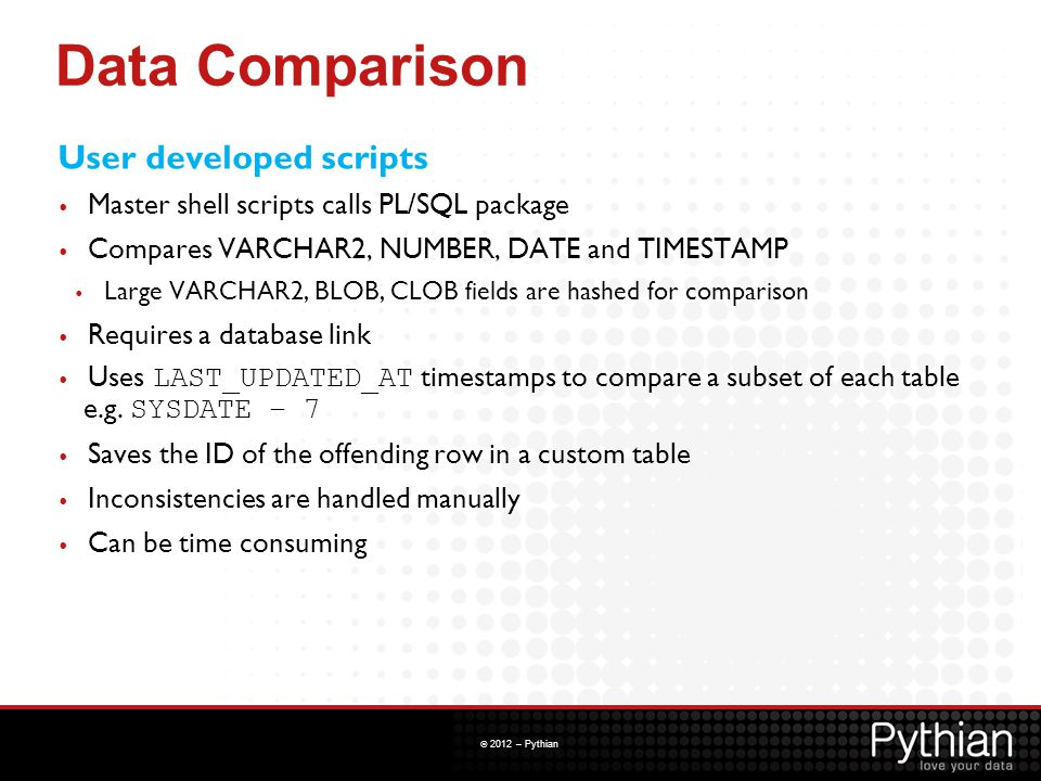 Data Comparison User developed scripts