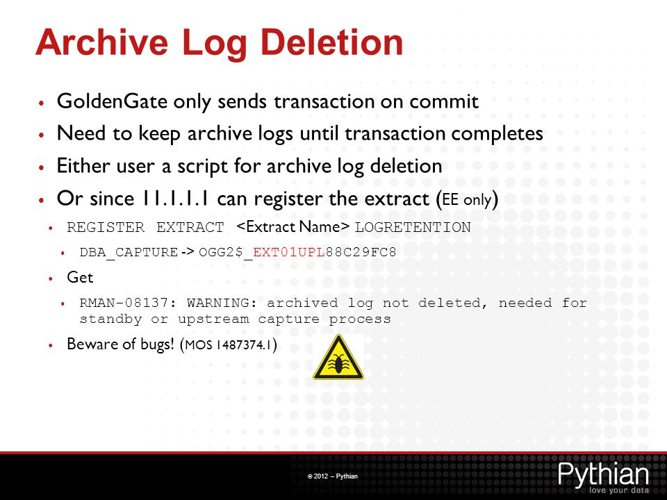 Archive Log Deletion GoldenGate only sends transaction on commit