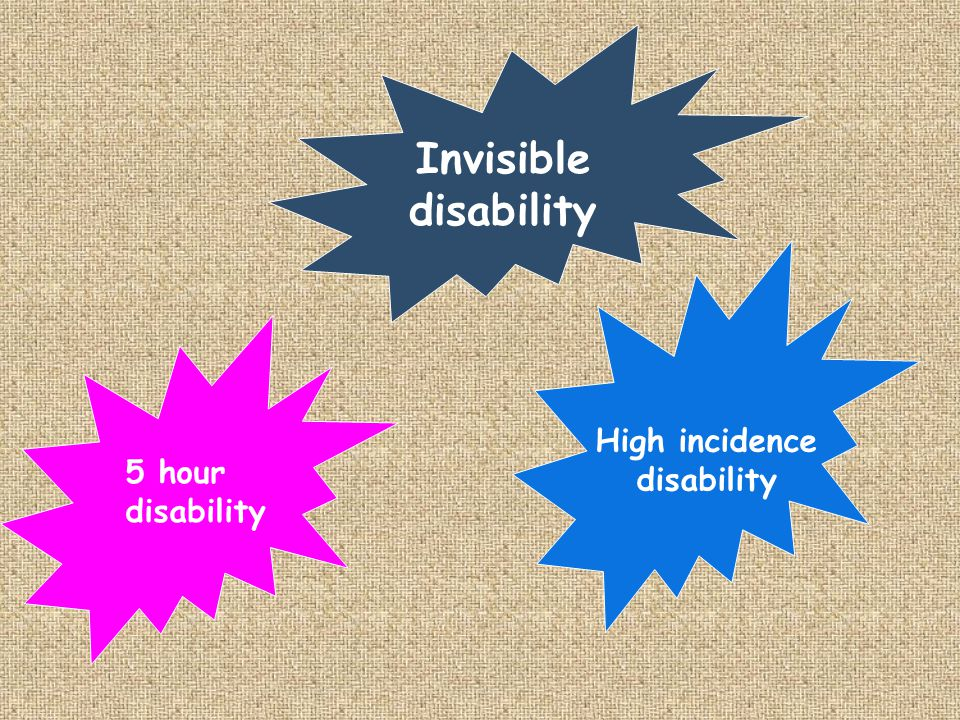Invisible disability High incidence disability 5 hour disability
