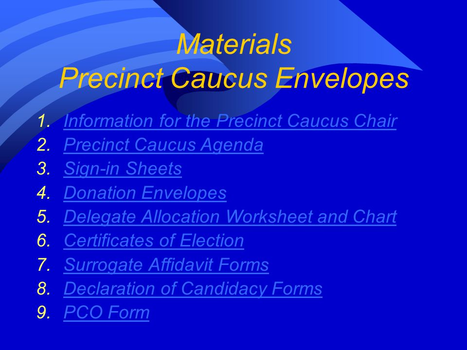 Materials Precinct Caucus Envelopes