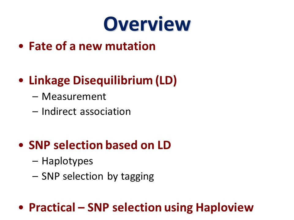 Overview Fate of a new mutation Linkage Disequilibrium (LD)