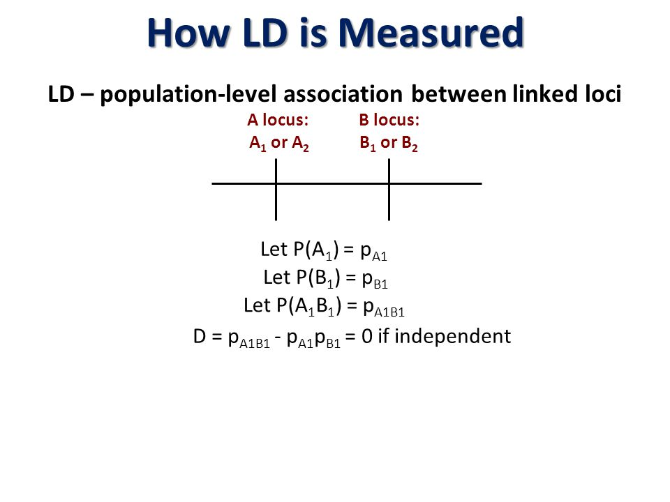 LD – population-level association between linked loci