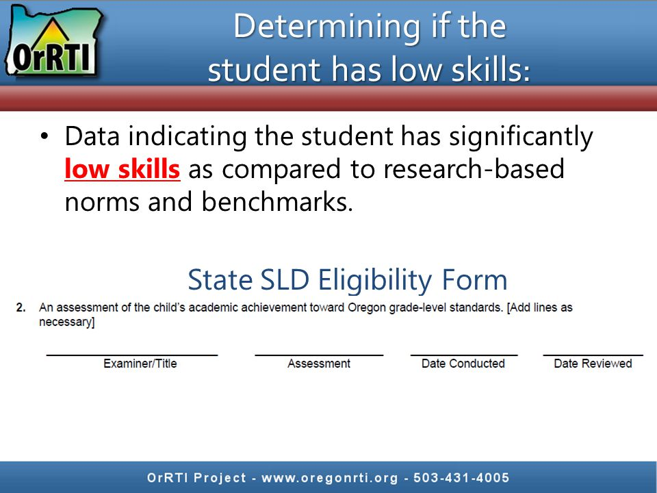 Determining if the student has low skills: