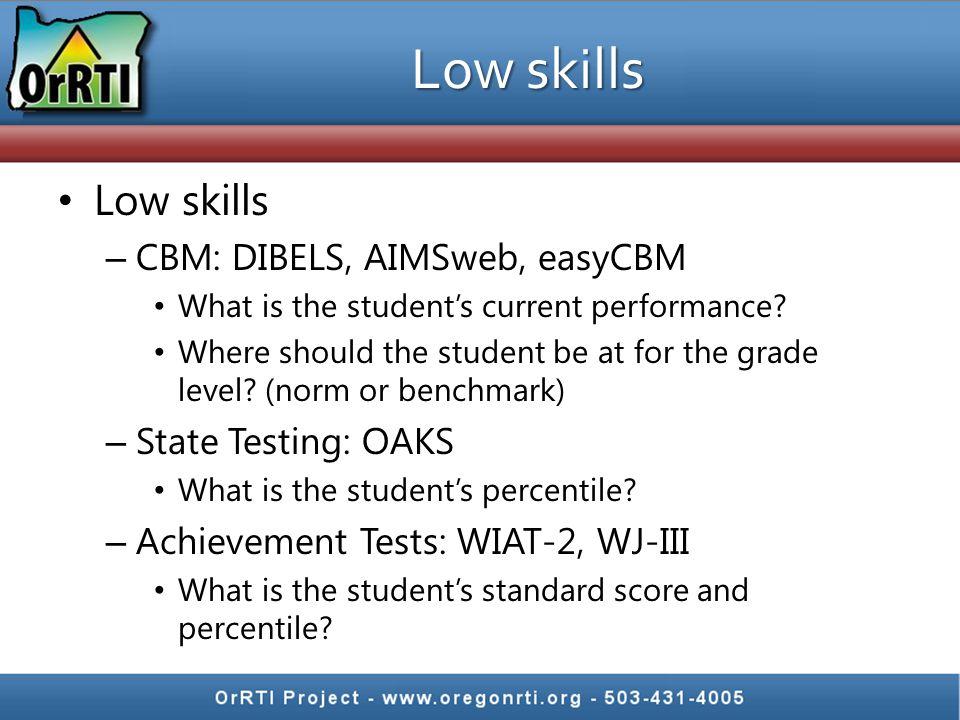 Low skills Low skills CBM: DIBELS, AIMSweb, easyCBM