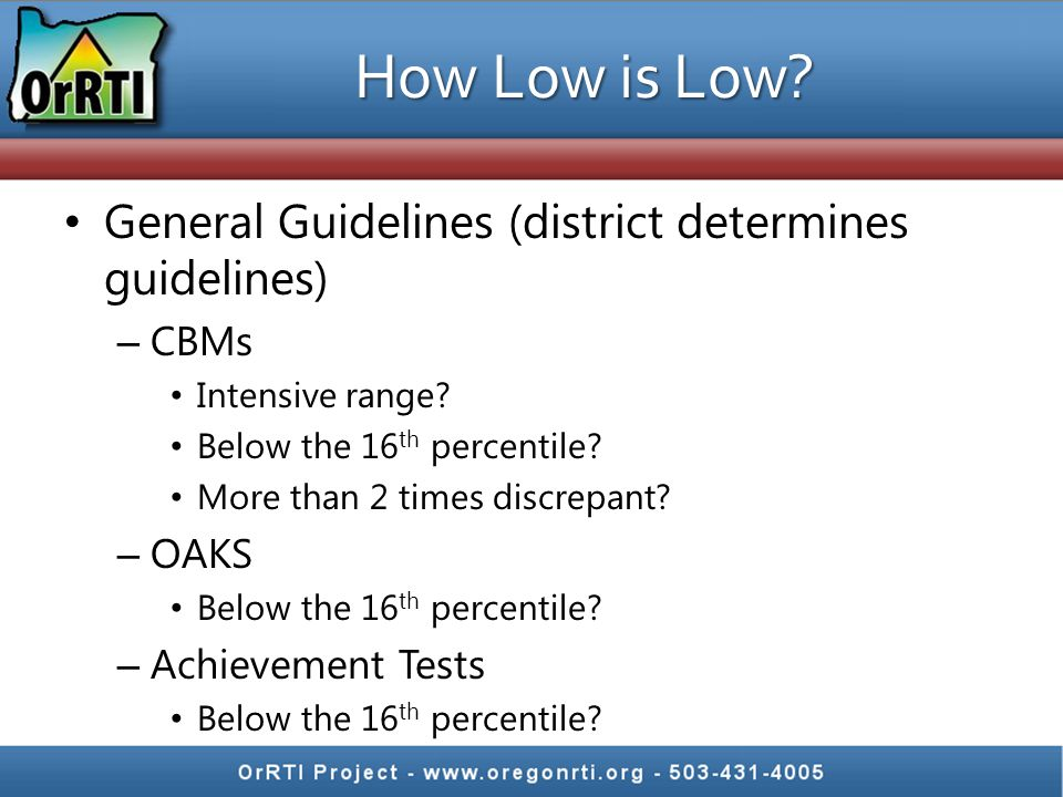 How Low is Low General Guidelines (district determines guidelines)