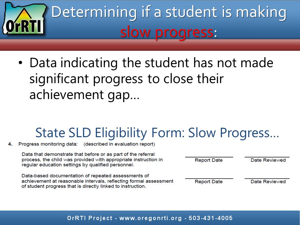 Determining if a student is making slow progress: