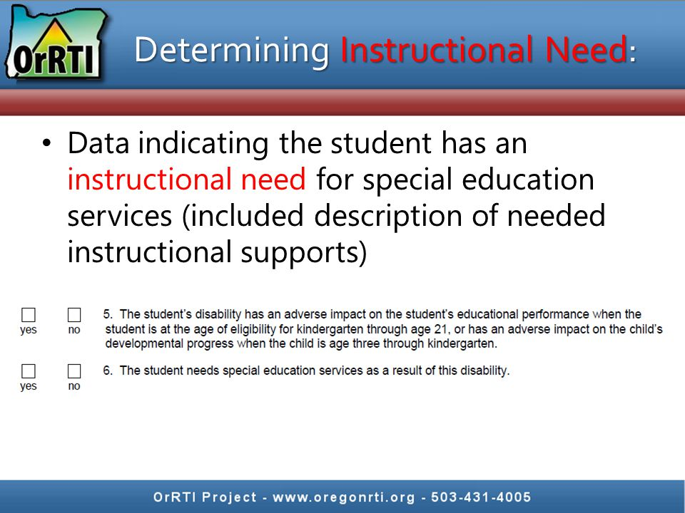 Determining Instructional Need: