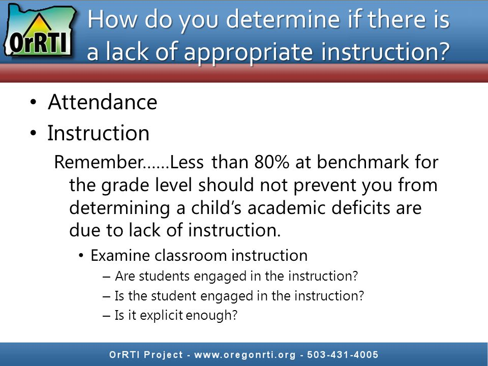 How do you determine if there is a lack of appropriate instruction