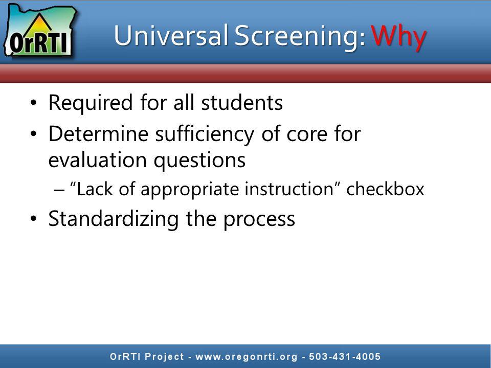 Universal Screening: Why
