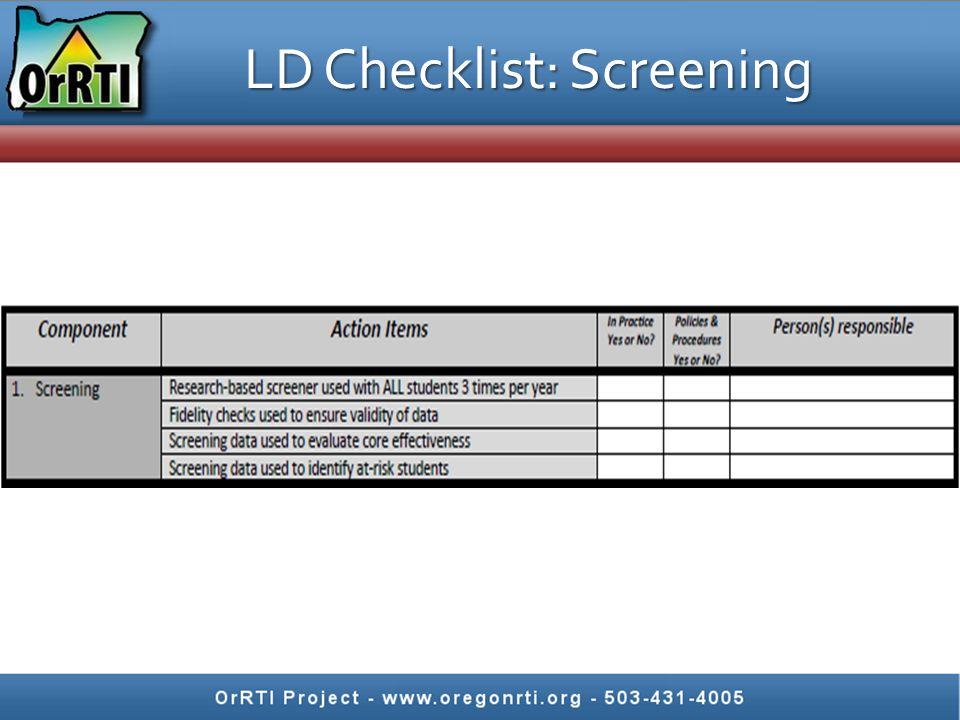 LD Checklist: Screening