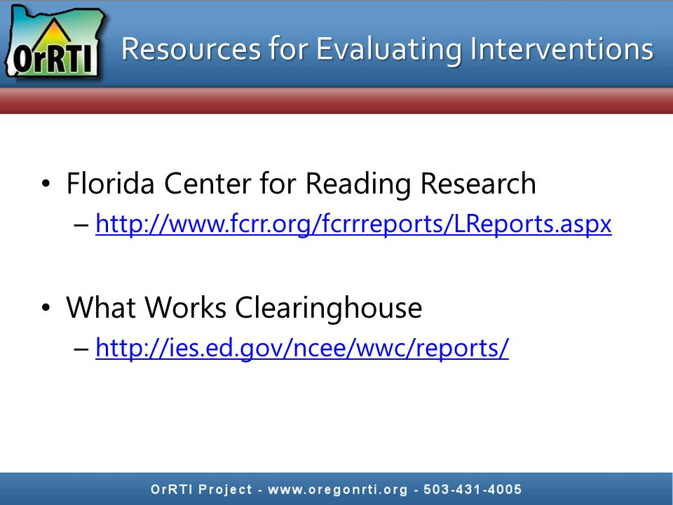 Resources for Evaluating Interventions