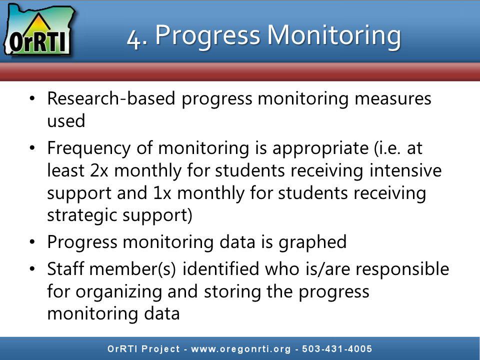 4. Progress Monitoring Research-based progress monitoring measures used.