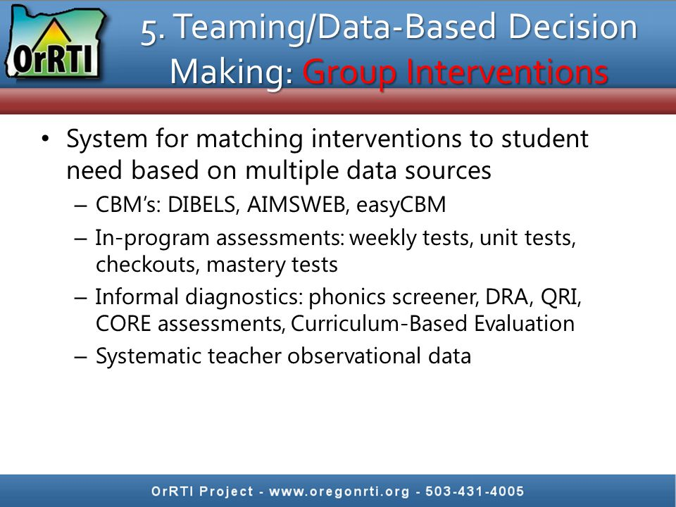 5. Teaming/Data-Based Decision Making: Group Interventions