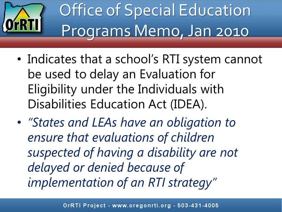 Office of Special Education Programs Memo, Jan 2010