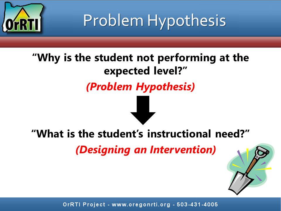 Nov 2010 Problem Hypothesis.
