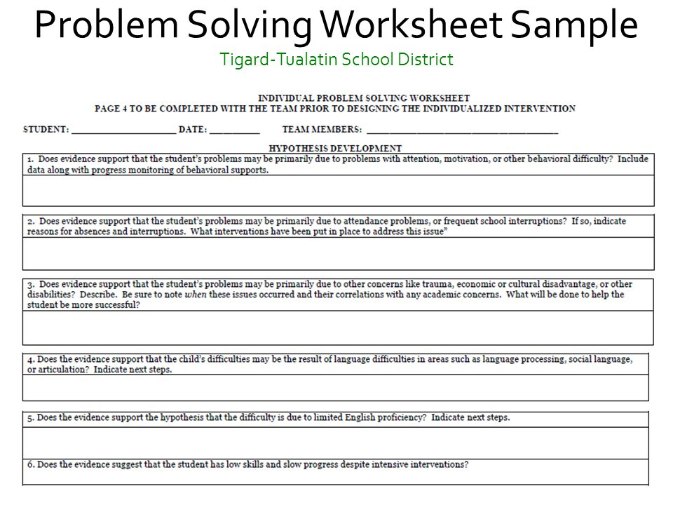 RTI and Eligibility A Comprehensive Review of BestPractices – Social Problem Solving Worksheets