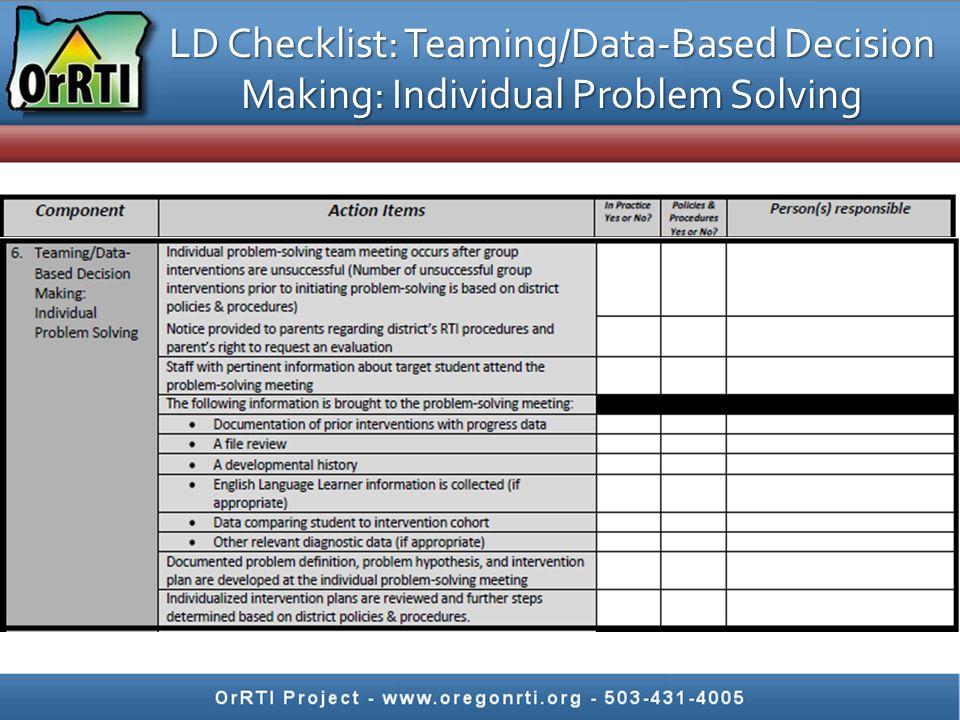 LD Checklist: Teaming/Data-Based Decision Making: Individual Problem Solving