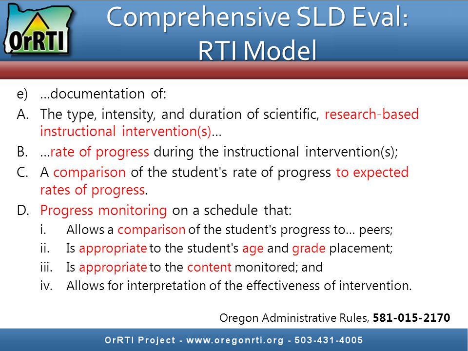 Comprehensive SLD Eval: RTI Model