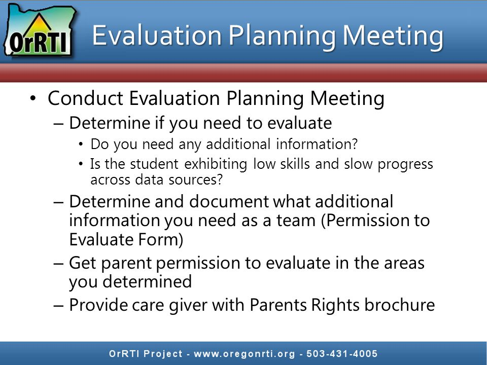 Evaluation Planning Meeting