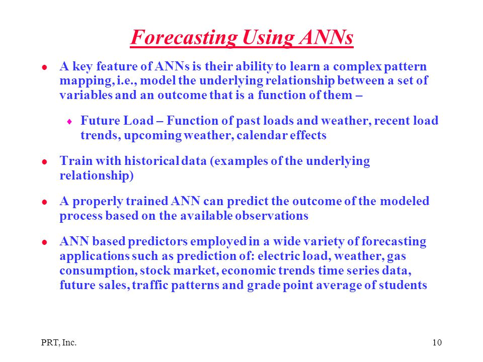 Forecasting Using ANNs