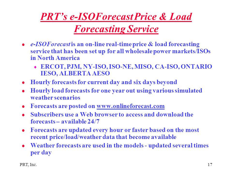 PRT's e-ISOForecast Price & Load Forecasting Service