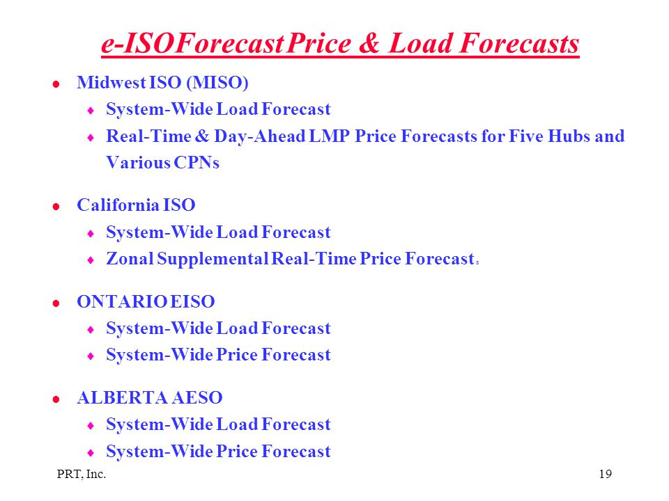 e-ISOForecast Price & Load Forecasts