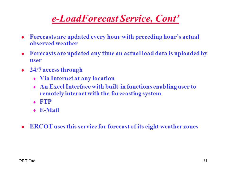 e-LoadForecast Service, Cont'