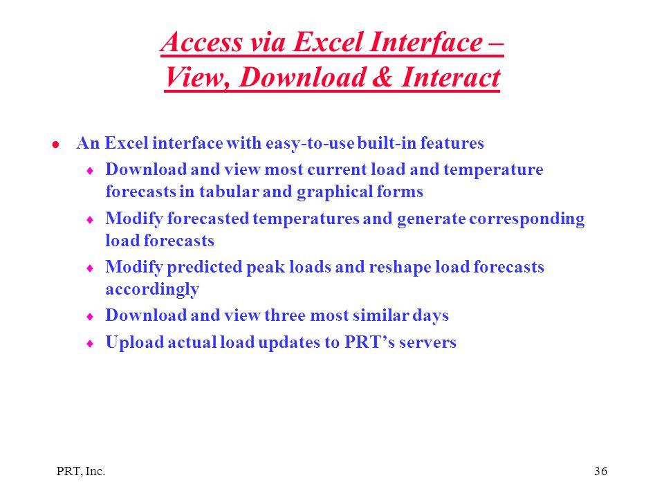 Access via Excel Interface – View, Download & Interact
